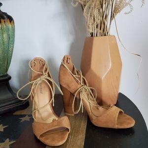 BAMBOO Embark Tan Natural Chunky Heel Sandals